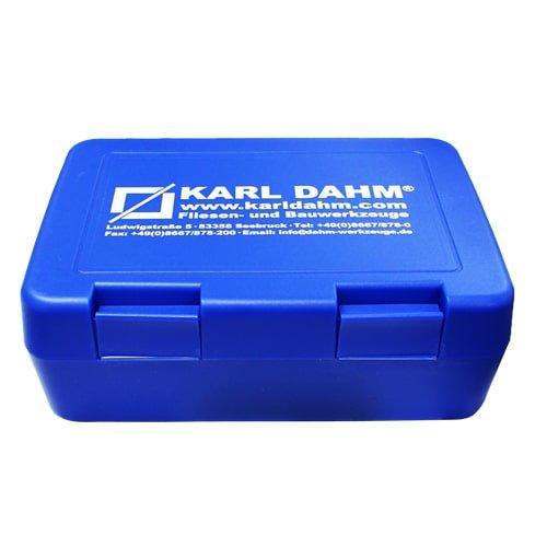 Werkzeugbox klein, blau für Fugenkreuze, Fliesenkeile, Arbeitsutensilien und mehr.