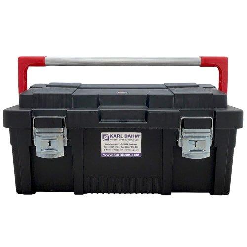 Schwarze Werkzeugbox mit Metallgriff und Metallverschluss von KARL DAHM