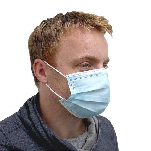 Einwegschutzmaske 50 Stück in blau, Stoffmaske mit Bändern, Befestigung an den Ohren. Schutzmaske gegen Viren- und Bakterienübertragung, gegen Staub, etc. Jetzt günstig kaufen bei KARL DAHM