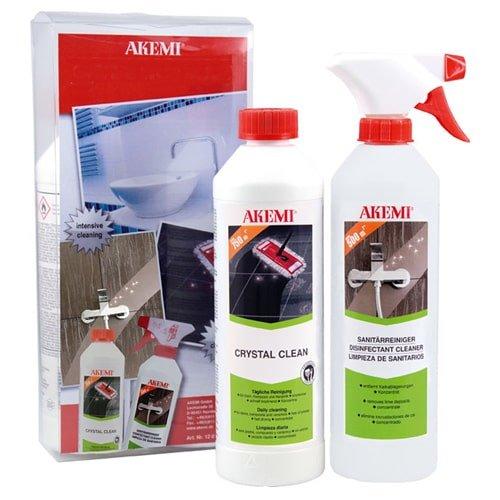 Keramik Pflege Set von AKEMI mit Crystal Clean Reiniger und Sanitärreiniger Spray (je 500 ml) in der Kunststoffbox