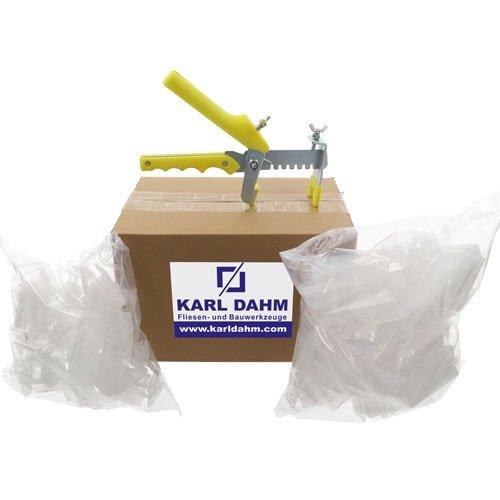 Keile-Nivelliersystem transparent, 100 Keile transparent, 100 Zuglaschen, 1 gelbe Zange im Karton - jetzt günstig kaufen bei Karl Dahm