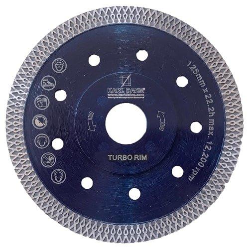 Diamanttrennscheibe Turbo Rim blau, KARL DAHM | 125 mm Durchmesser. Für harte Materialien wie Naturstein und Feinsteinzeug