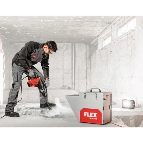 FLEX Bauluftreiniger im Set mit Schlauch, Tür und Filter. Schutz vor Feinstaub und Grobstaub bei der Arbeit auf der Baustelle.