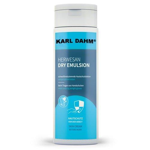 Hautpflege Emulsion 250 ml Flasche, blaues Etikett, schützt die Hände vor dem Aufweichen und Austrocknen. HERWESAN Hautpflege Emulsion jetzt günstig kaufen bei KARL DAHM