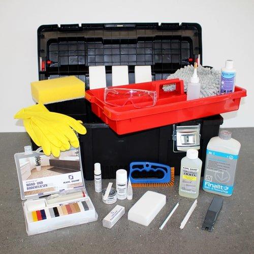 Reinigungs- und Reparaturkoffer für Fliesen und Fugen. Koffer mit praktischen Reparatur- und Reinigungswerkzeugen für Fliesen und Fugen | KARL DAHM