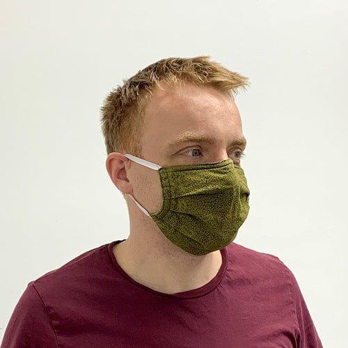Gesichtsmaske olivgrün, Atemschutzmaske, Schutzmaske für Mund und Nase, Maske selbstgenäht - KARL DAHM