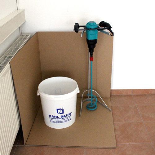 Anrührecken 5 Stück zum Schutz von Wänden und Böden beim Anrühren von Kleber, Mörtel und Fugenmassen. Spritzschutzecken aus Karton 80x80 cm