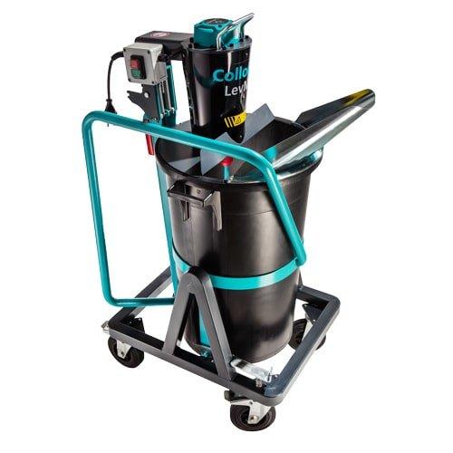 Mobiles Mischgerät Collomix LevMix zum Anrühren und Auskippen von Ausgleichsmassen. 75 Liter Fassungsvermögen. mit Rädern und Auskippbügel