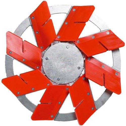 Verfugteller mit 8 roten Flügeln zum verdichten der Fugen. Schnell und einfach verfugen. Passend zur KARL DAHM Ausfugmaschine