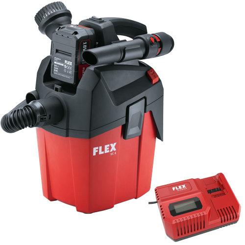 Kompakter Akku-Absauger FLEX mit Tragegurt, 18 V, inkl. Akku und Ladegerät