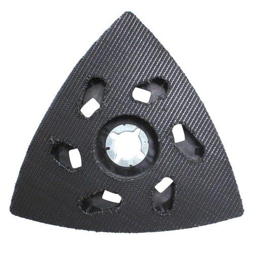 Schleifplatte Klett, dreieckig zu Makita Multifunktions-Oszillierer von KARL DAHM. Dreieckige Schleifplatte mit Loch-Sternaufnahme