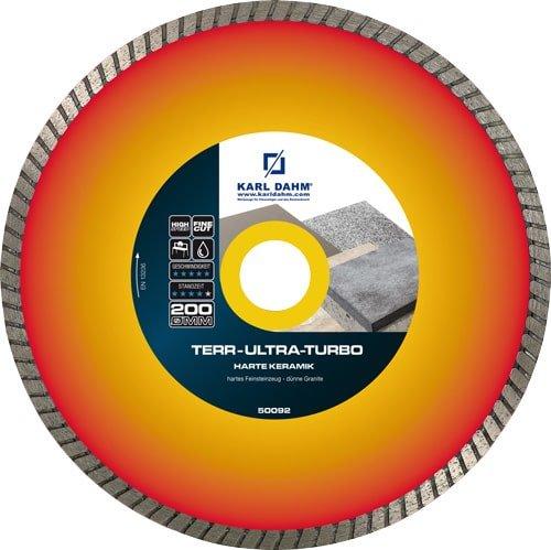 Diamant-Trennscheibe TERR Ultra Turbo für Terrassenplatten und extrem harte Materialien - Diamanttrennscheibe Orange und Rot mit Turbozahnung