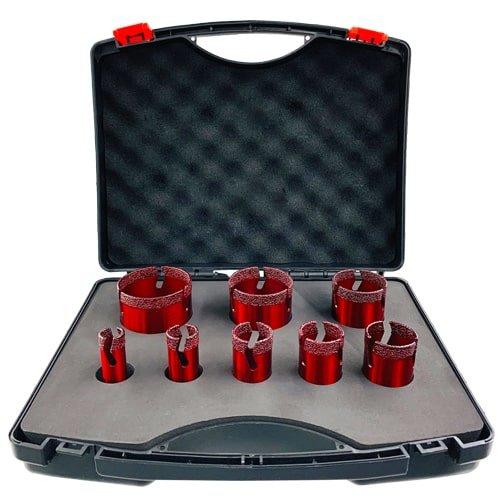 Fliesenbohrer Diamant- Set mit 8 schnittigen, roten Bohrkronen für Fliesen, Feinsteinzeug und Naturstein - Diamantwerkzeuge günstig kaufen bei KARL DAHM