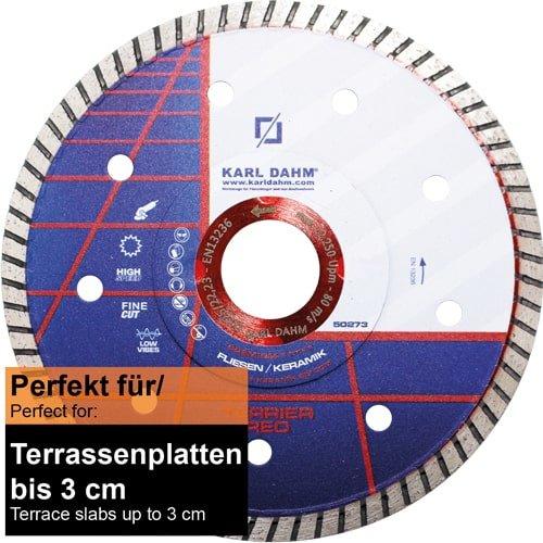 Trennscheibe Diamant für 3 cm Terrassenplatten | Terrier Red Ø 180 mm von KARL DAHM