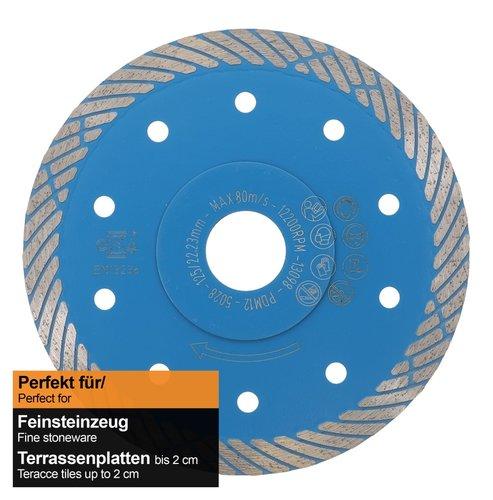 DTS 15: Diamanttrennscheibe Ø 125 mm für harte Keramik und Feinsteinzeug bis 2 cm Stärke. Blaue Diamanttrennscheibe