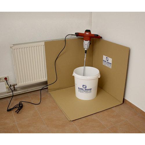 Spritzschutz (Anrührecke) für Rührgeräte zum sauberen Arbeiten auf der Baustelle