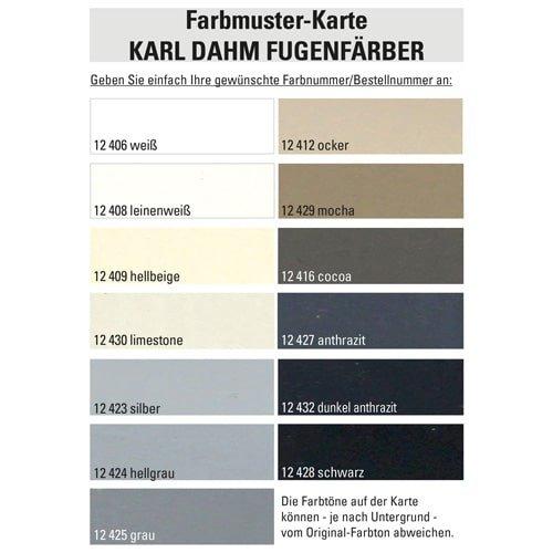 Farbmusterkarte Fugenfärber KARL DAHM - Jetzt Wunschfarbe bestimmen